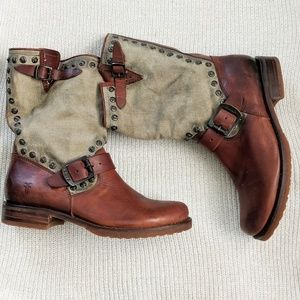 Frye Veronica Studded Distressed Canvas Boot 7.5